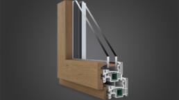 Modellazione 3D finestra legno e pvc vista interna