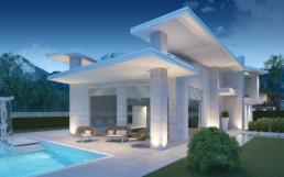 Rendering villa 1 inquadratura patio e piscina notturna