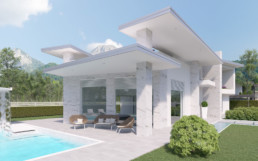 Rendering villa 1 inquadratura patio e piscina