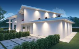 Rendering villa 1 inquadratura autorimessa notturna