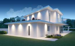Rendering villa 1 inquadratura retro notturna