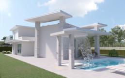 Rendering villa 1 inquadratura cascata piscina