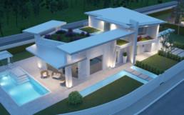 Rendering villa 1 inquadratura 5 aerea notturna