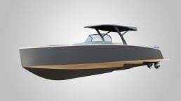 Rendering barca vista prua
